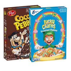 Набор готовых завтраков Cocoa Pebbles + Lucky Charms Frosted Flakes (2 шт)