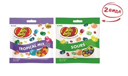Конфеты Jelly Belly Tropical Mix 70 гр.+ Кислые фрукты 70 гр. (2 шт.)