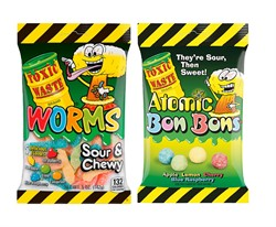 Набор Toxic Waste мармелад Toxic Waste Sour Worms 142 гр. + Драже Toxic Waste Atomic Bon Bons 150 гр. (2 шт.)