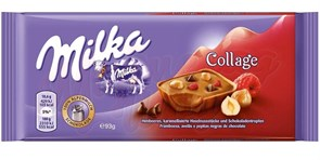 Шоколад Milka Collage Fruit малина и фундук 93 гр.